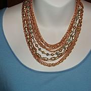 Vintage Sautoir 10 Strand Bib Necklace: Chains, Beads & Faux Pearls