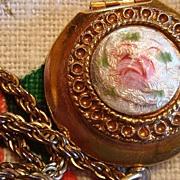 Very Feminine Rose Enamel Locket Pendant Necklace
