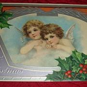 Victorian Christmas Postcard Embossed Silver Framed Cherubs/Angels Printed in Germany
