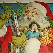 'Up Close' Santa Claus Postcard Early 1900's Doll, Joker, Skates, Drum: Stecher Lith.