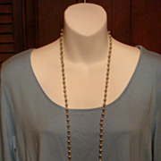 """48"""" Flapper Length Grey Toned Faux Pearl Necklace With Metal Links"""