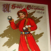 Great 1914 Embossed Christmas Postcard Signed, Lady In Red Coat With Fur, Old Wooden Sled, Snowballs, Gilt