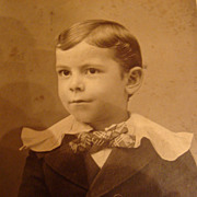 Cabinet Card Photograph Darling Young Boy in Victorian Clothing Wavy Hair