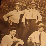 Early 1900's Photo 4 Cool Dudes Look at Those Hats and SKINNY Ties