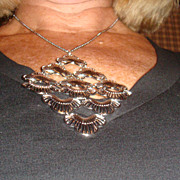 Silvertone Diamond Shaped Bib or Festoon Necklace With Individual Designed Connected Parts