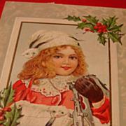 Early 1900's Christmas Postcard Adorable Girl Metal Skates lace Collar, Animal Fur Cap and Muff!