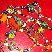 Amazing Bright and Bold Colors Venetian Glass Italian Millefiori Beaded Necklace Large Beads