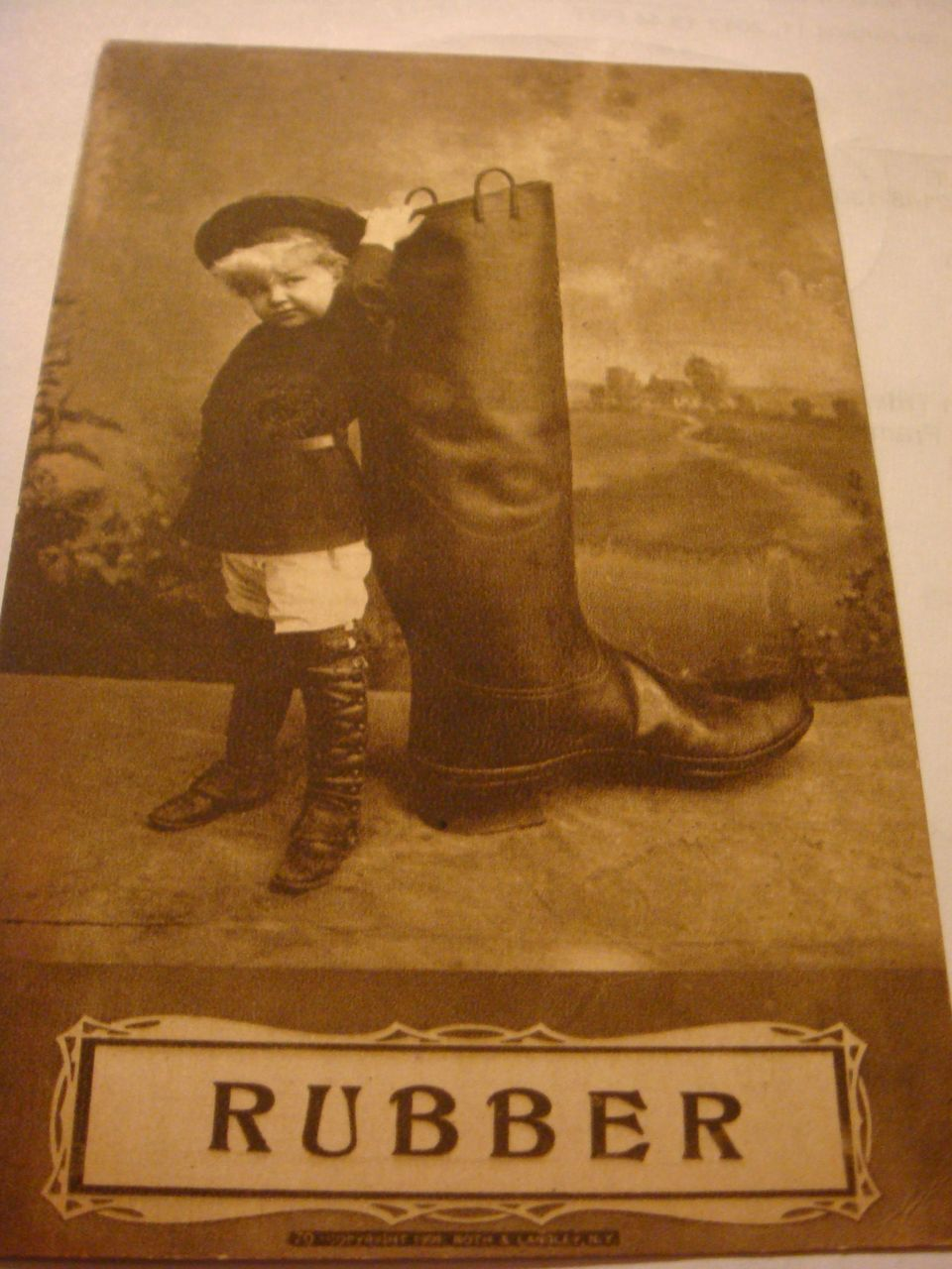 1909 Photo Postcard  Adorable Child High Top Boots, Coat Hat 'RUBBER' Boot C1909 Roth Langley, NY