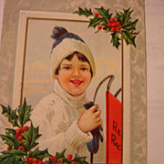 1913 Embossed Christmas Postcard Little Child With Red Racer Metal Runner Sled
