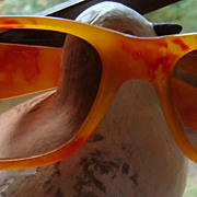 Groovy Vintage Sunglasses Marbled Golden Yellow & Red Lucite Illinois Estate