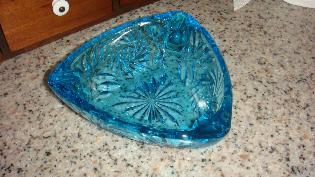 Blue Pinwheel or Starburst Patterned Glass Triangular Ashtray Pretty Enough for Candy Dish