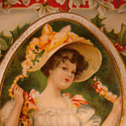 Edwardian Christmas Postcard Pretty Lady in Straw Hat With Ribbon & Flowers Corset Dress Holly 1909