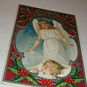 A Most Beautiful 1909 Christmas Postcard Little Guardian Angel Watches Over Rosy Cheek Girl Sleeping Silver Gilding