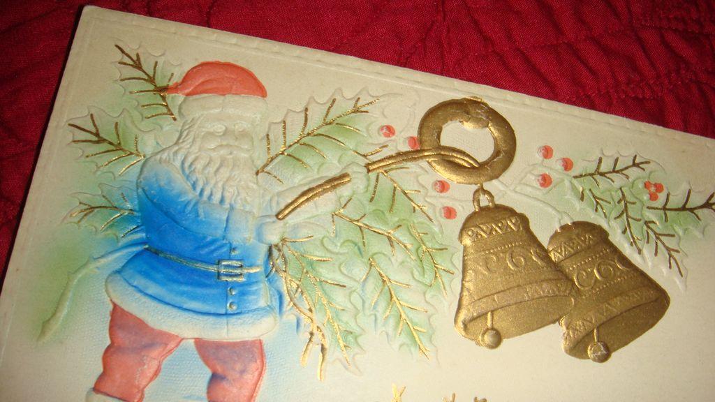 Heavily Embossed Blue Robed Santa Rings Gold Gilt Bells Christmas Postcard Early 1900's