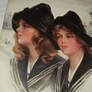 Artist Signed Philip Boileau 'Snowbirds' Postcard Twin Sisters Early 1900's