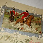 1912 John Winsch Christmas Postcard Hunt Scene Jockeys, Horses, Dogs Silver Gilt