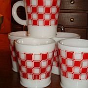 Colorful Checkerboard Hazel Atlas Mug (s) Rolled Base 5 Available Purina