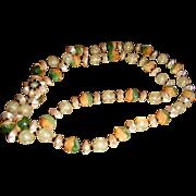 Vintage Celluloid, Plastic, Lucite Double Strand Necklace Flower Clasp Hong Kong