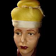 Jean Barthet Elegante Ladies Pill Box or Mushroom Style Hat Easter Bonnet KY Derby