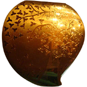 Vintage American Elgin Heart Shaped Compact Tree and Flower Design Shiny Satin Gold Finish