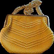 Vintage Yellow and Gold Beaded Safram Purse Handbag Made in Hong Kong Adjustable Strap