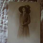 Miss Derby Day Perhaps...Coat Dress & Huge Decorative Hat Old Photo!