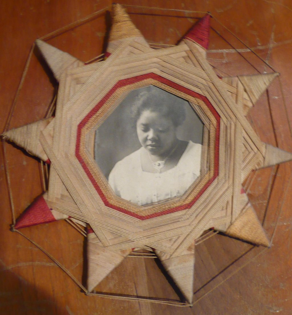 Victorian String Art Frame Black Americana Photo