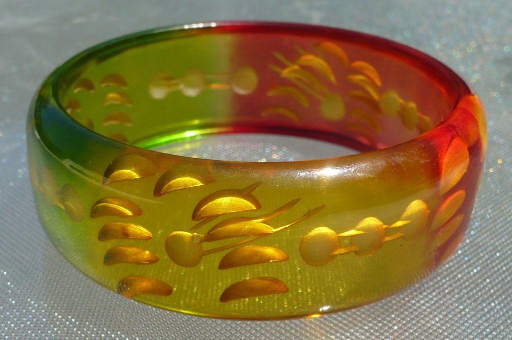 Reverse Carved Colored Bakelite Bracelet