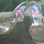 Vintage Lucite Shoes Flower Encased Heels
