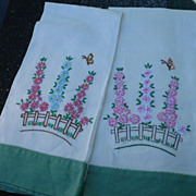 Embroidered Floral Towels