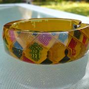 Reverse Carved Bakelite  Hinge Bracelet