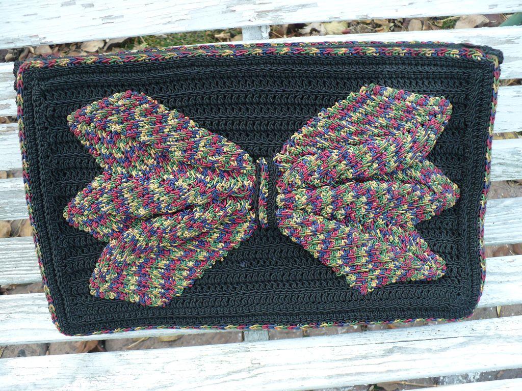 Vintage Large Crochet Bow Purse