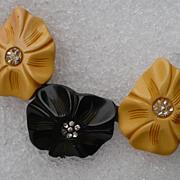 Three Flower Bakelite Pin
