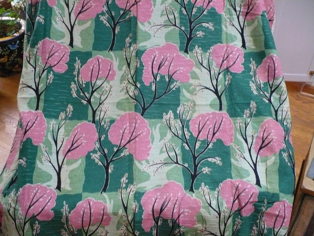 Vintage Pink Green Tree Fabric