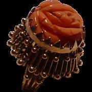 14K Coral Flower Ring