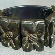 Bakelite Carved  Stretch Bracelet
