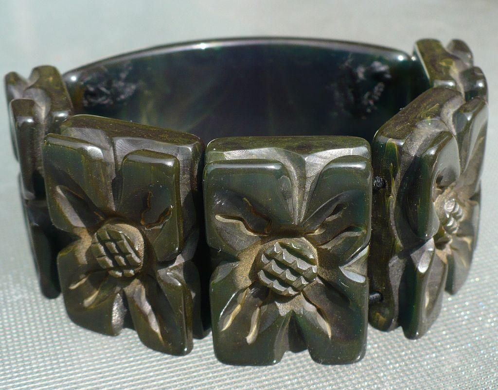 Bakelite Carved  Stretch Bracelet