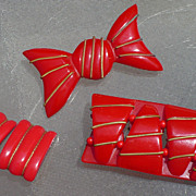 Bracelet Earrings Pin Bakelite Set