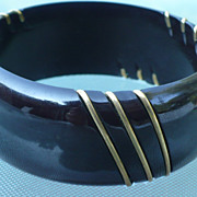 Black Bakelite Bracelet Metal Trim