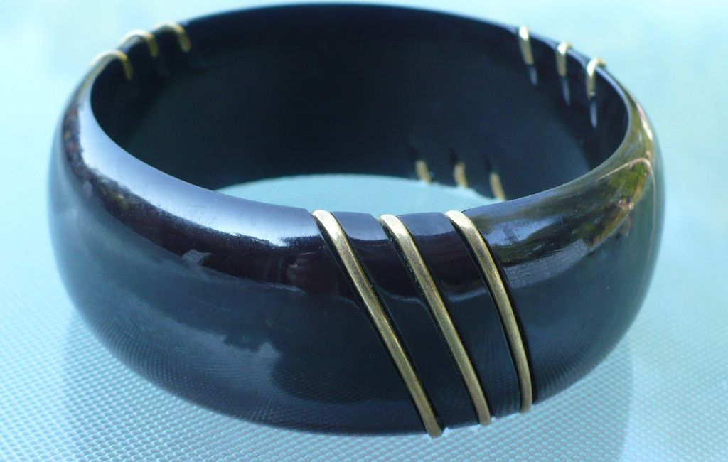 Black Bakelite Bracelet Metal Trim