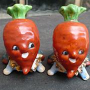 Vintage Turnip & Carrot  People Salt & Pepper