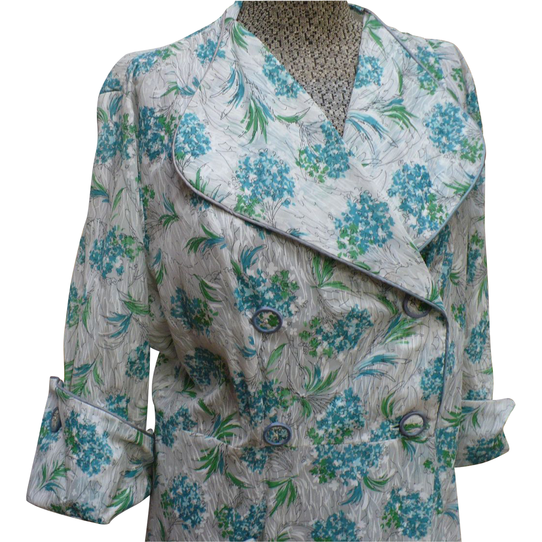 Campus Girl Floral Nylon  House Dress Coat