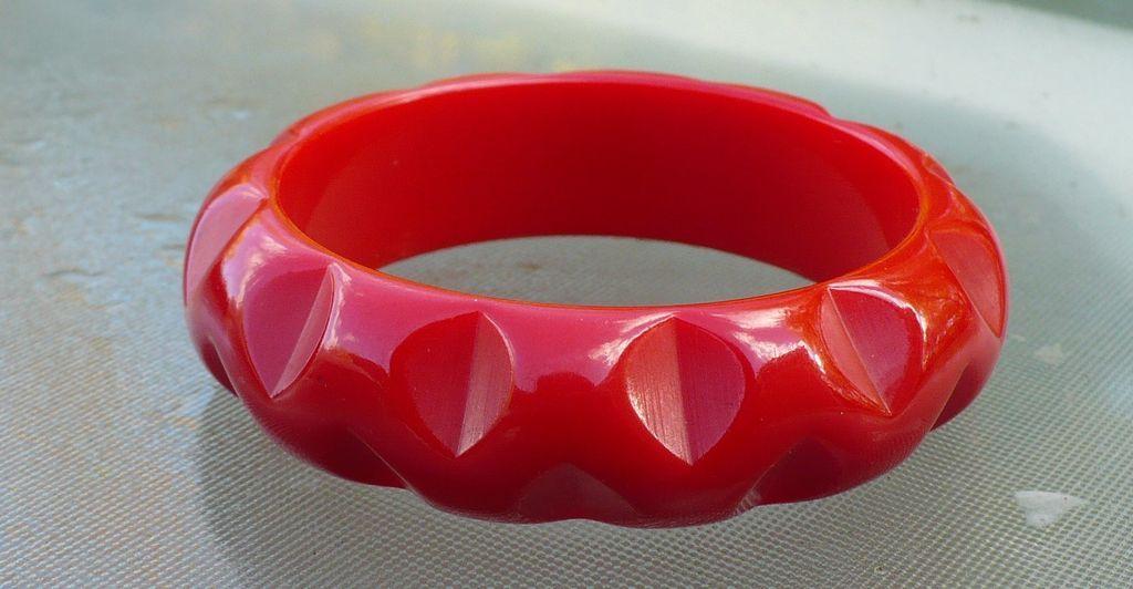 Cherry Red Carved Bakelite Bracelet
