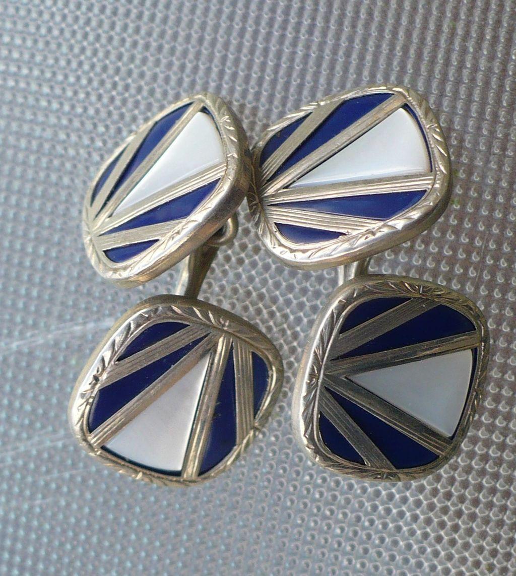 Cufflinks Two Sided Swank Art Deco Mother of Pearl & Enamel
