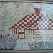 Cottage Picture Made From Silk Stockings