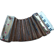 Carved Wood Accordian Pin