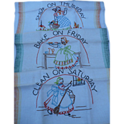 Mammy Days of the Week Embroidered Towels Six