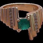 14K Emerald Diamond Ring
