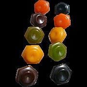 Ten Multicolor Bakelite Buttons