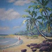 Vintage Hawaiian Oil Painting Kaawa Beach by Hironaka